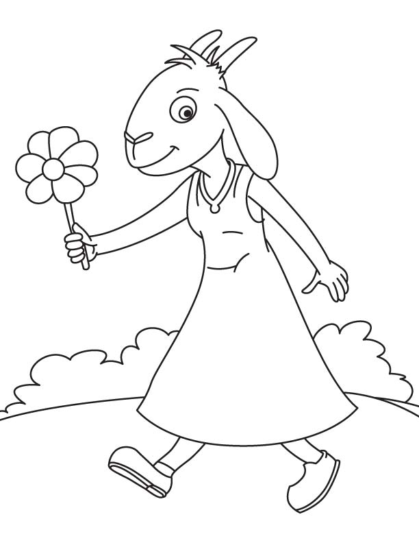Young goat coloring page