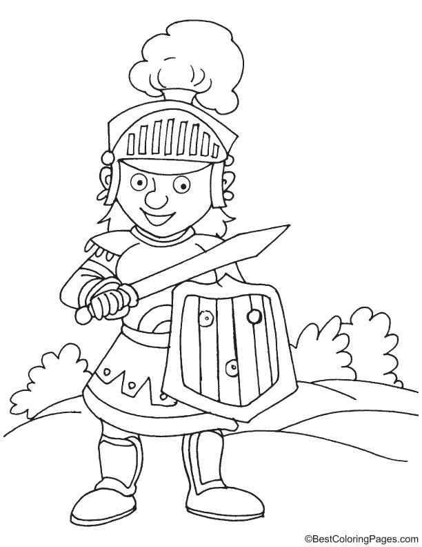 Young knight coloring page