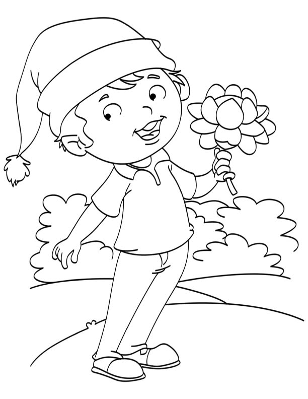 Young santa holding lotus flower