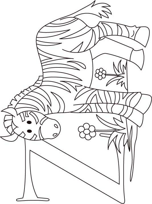 z for zebra coloring page for kids