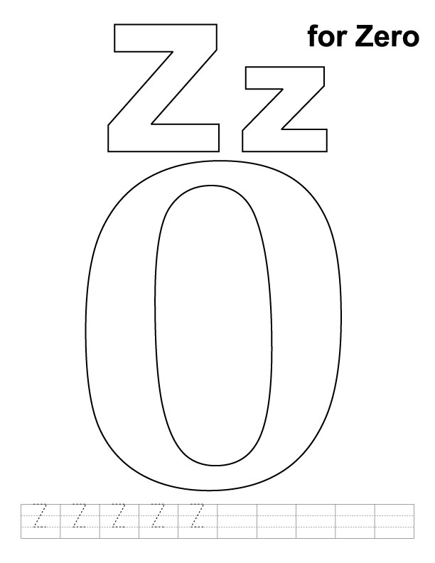 Z for zero coloring page with handwriting practice