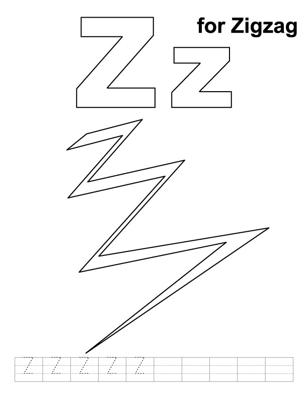Z for zigzag coloring page with handwriting practice