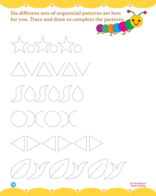Six different sets of sequential patterns are here for you trace and draw to complete the patterns