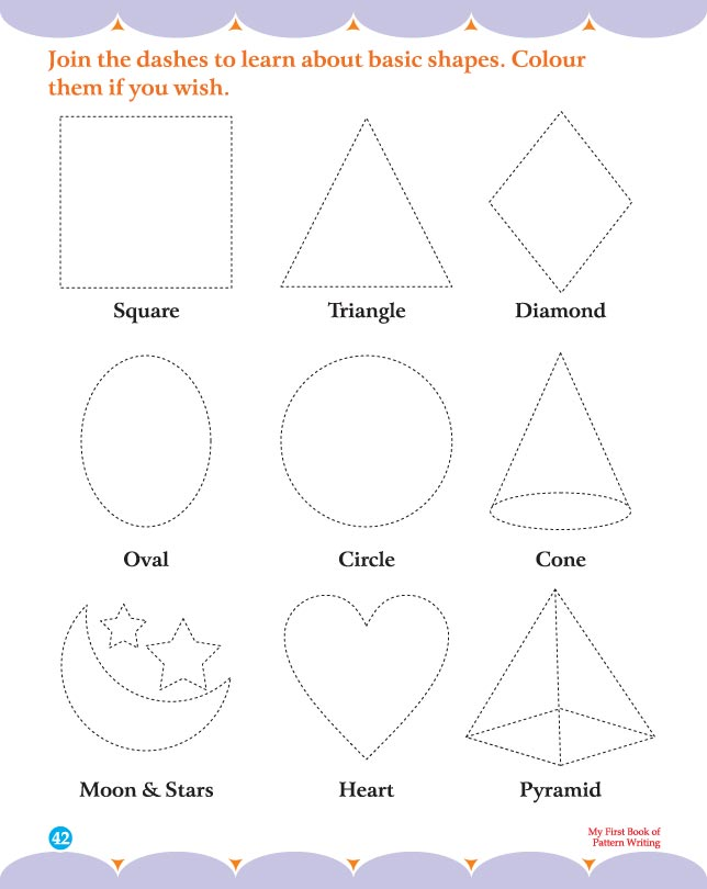Join the dashes to learn about basic shapes and colour them if you wish