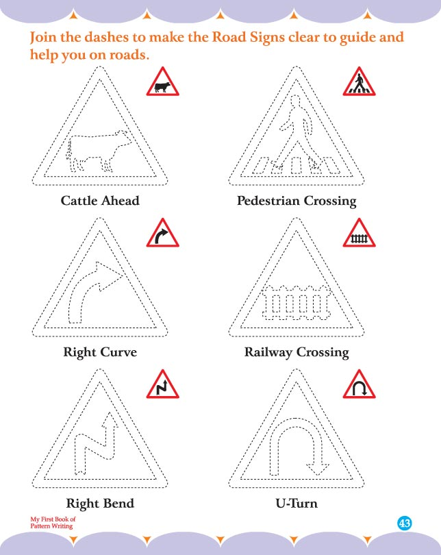 Join the dashes to make the road signs clear to guide and help you on ...