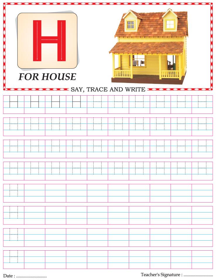 Capital letter writing practice worksheet alphabet H