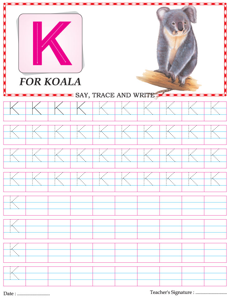 capital letter writing practice worksheet alphabet k download free