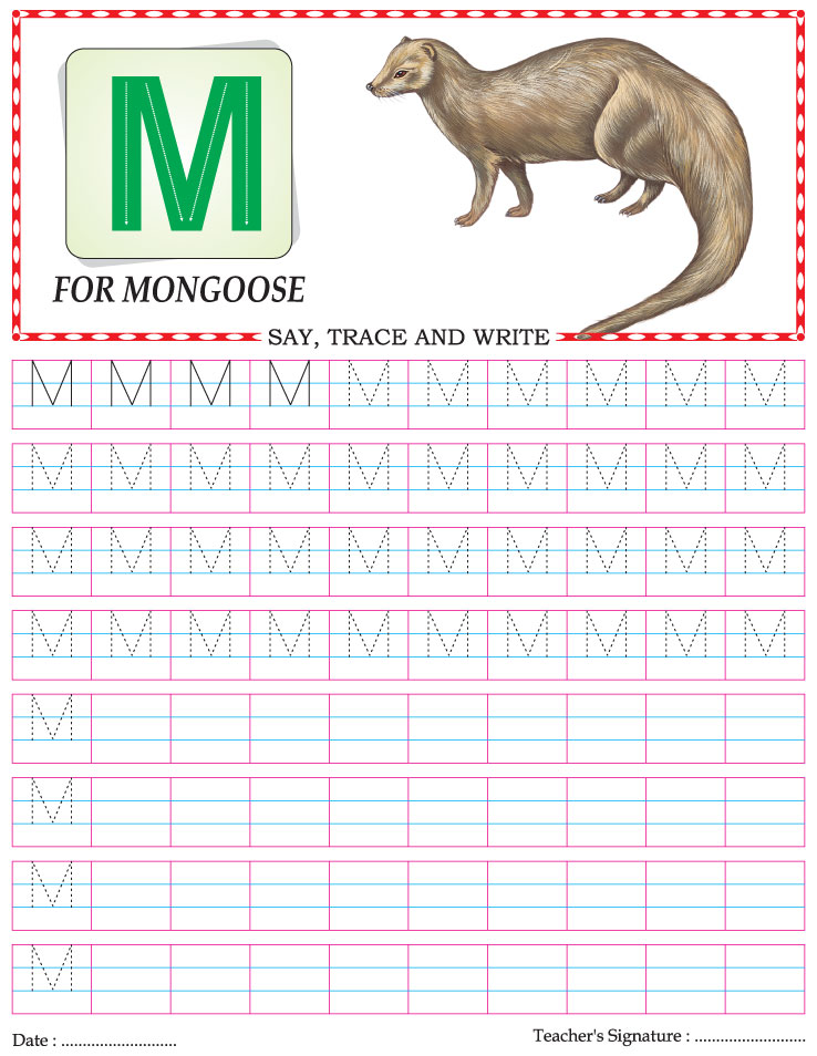 Capital letter writing practice worksheet alphabet M – Alphabet Writing Practice Worksheets for Kindergarten