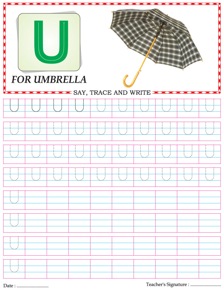 Capital letter writing practice worksheet alphabet U – Alphabet Writing Practice Worksheets for Kindergarten