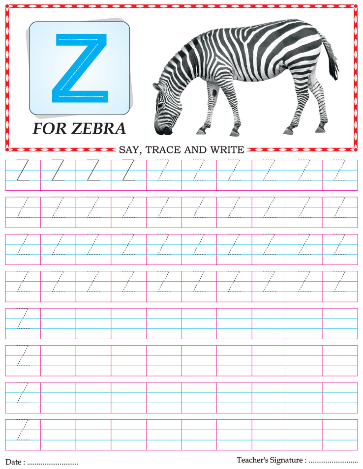 Capital Letter Writing Practice Worksheet Alphabet Z