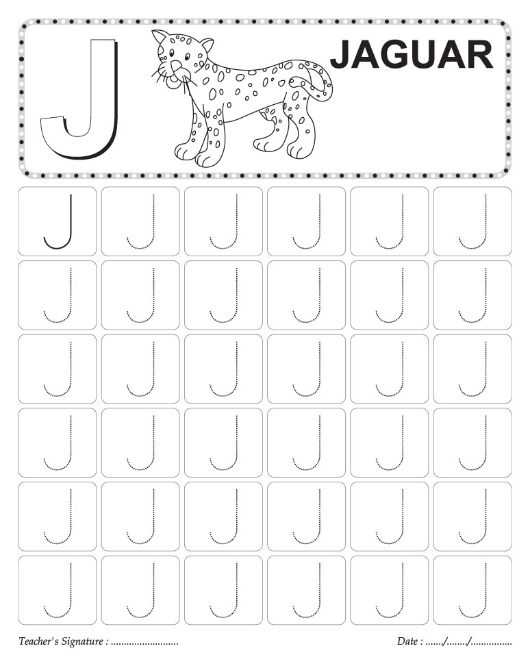 traceable capital letters writing practice worksheets J – Alphabet Writing Practice Worksheets for Kindergarten