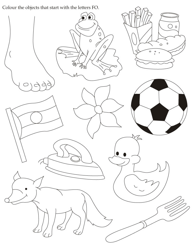 Colour the objects that start with the letters FO