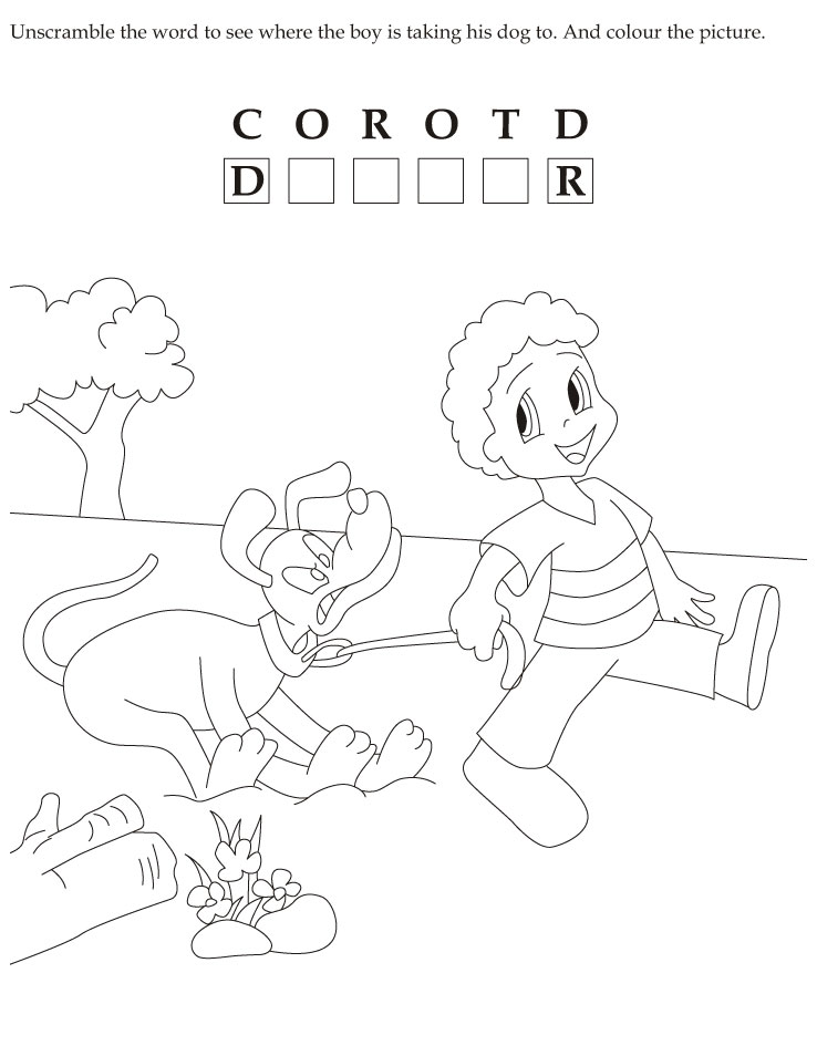 Unscramble the word to see where the boy is taking his dog to