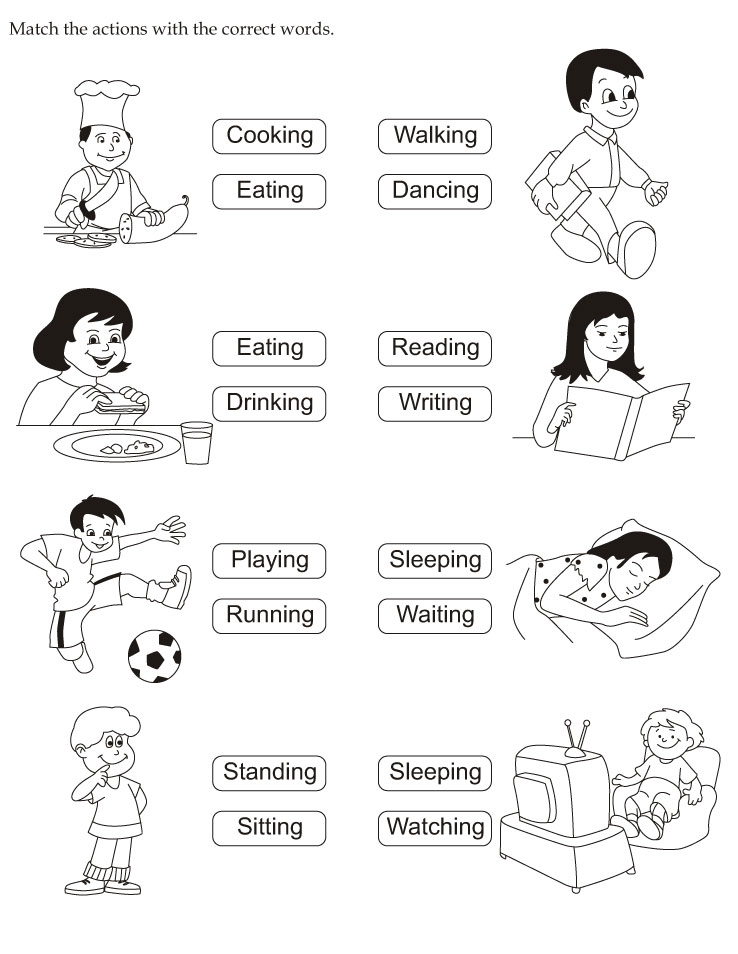 {Worksheet On Action Words Scalien – Action Words Worksheets for Kindergarten