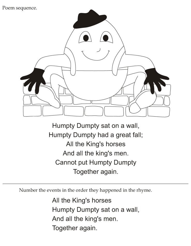 Humpty Dumpty poem sequence