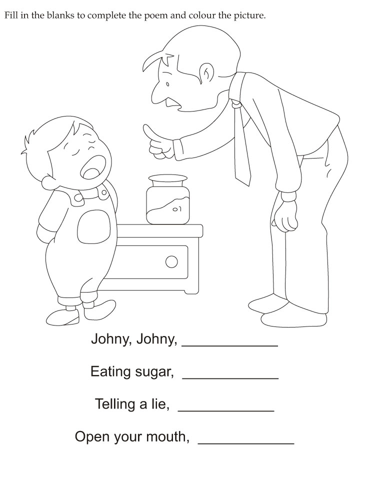 fill in the blanks to complete the poem and color the picture