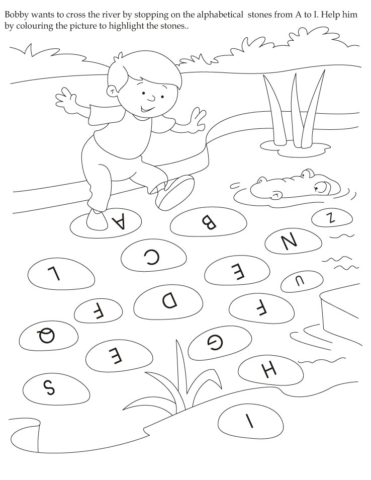 english activity 4 bobby wants to cross the river by stopping on the alphabetical on grade 1 science worksheets