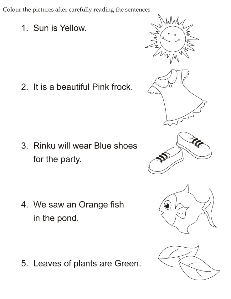 Color the pictures after carefully reading the sentences | Download ...