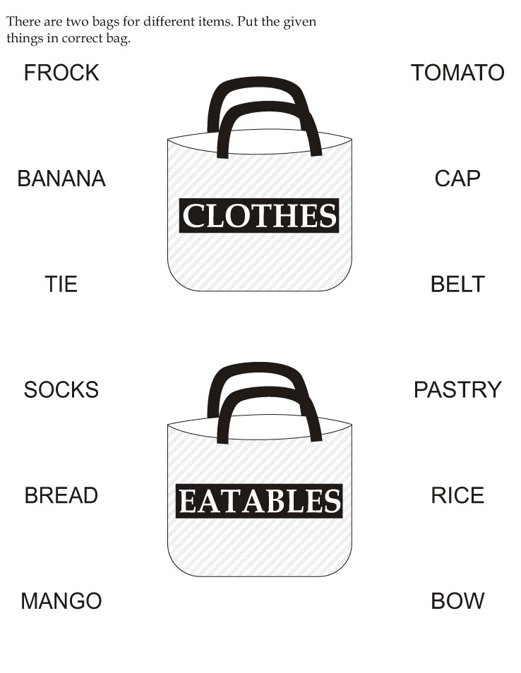 There are two bags for different items, put the given things in correct bag