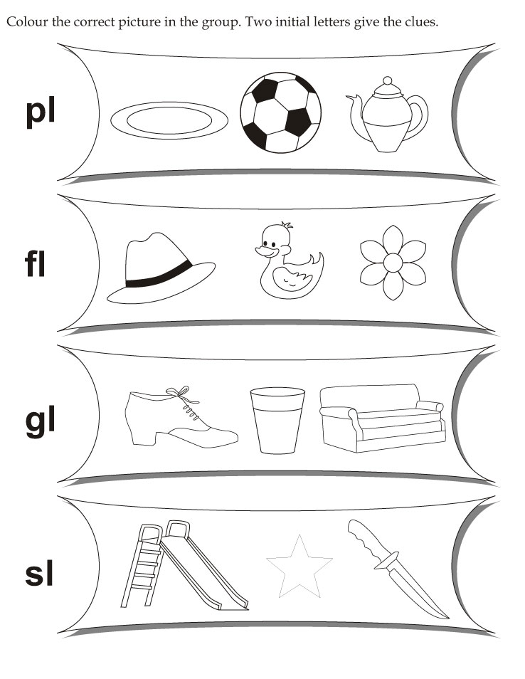 Color the correct picture in the group two initial letters give the clues