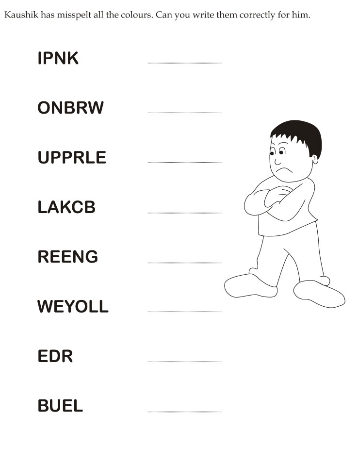 Download English Activity Worksheet Kaushik Has Misspelt All The. Kaushik Has Misspelt All The Colours Can You Write Them Correctly For Him. Worksheet. Handwriting Worksheets Colours At Clickcart.co