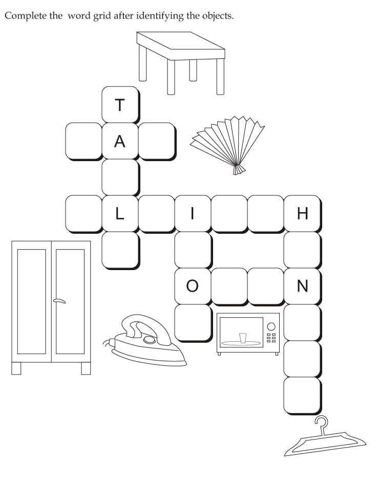 Complete the  word grid after identifying the objects