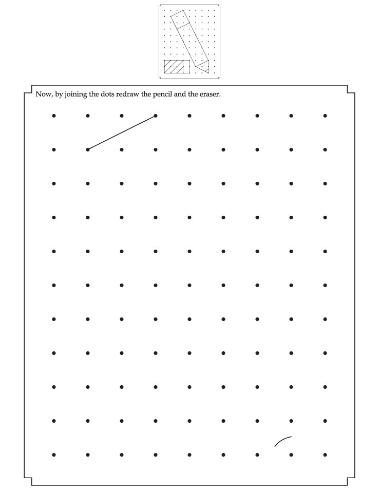 By joining the dots redraw the pencil and the eraser