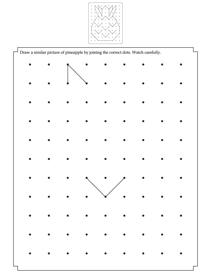 Draw a similar pineapple by joining the correct dots