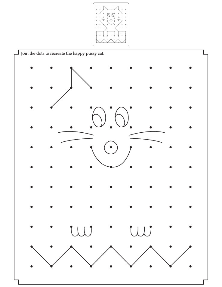 Join the dots to recreate the happy pussy cat