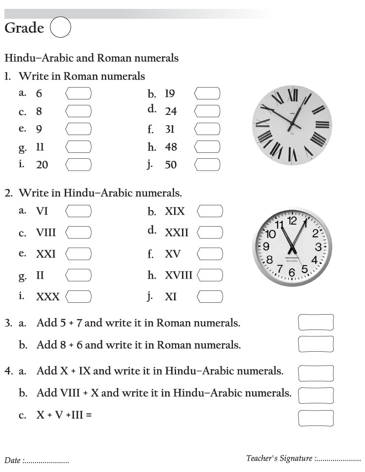 HinduArabic and Roman numerals – Roman Numeral Worksheet