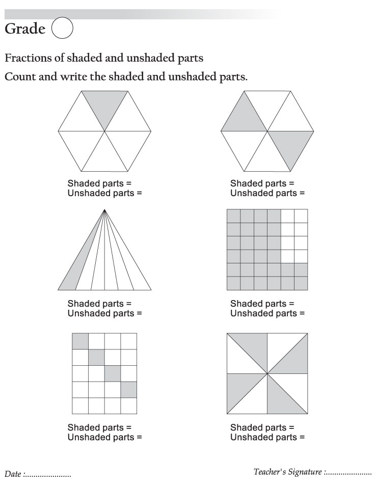Fractions Of Shaded And Unshaded Parts Download Free