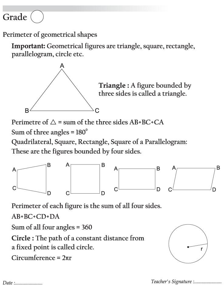 Perimeter of geometrical shapes