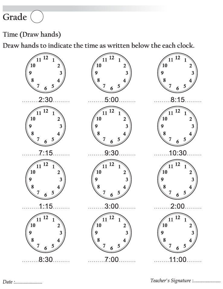Draw hands to indicate the time as written below the each ...