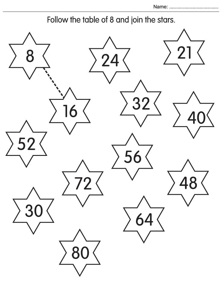 Follow the table of 8 and join the stars – Worksheet on Maths