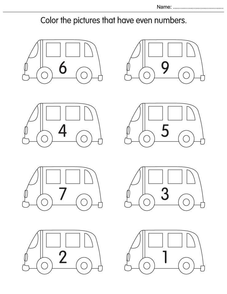 Worksheet. Color the pictures that have even numbers  Download Free Color