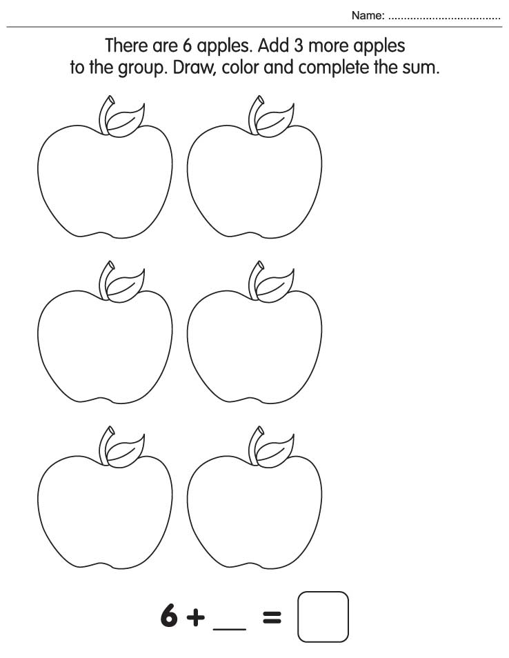math worksheet : draw color and plete the sum  download free draw color and  : Easy Maths Worksheets
