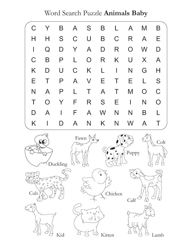 Word Search Puzzle Animal Baby