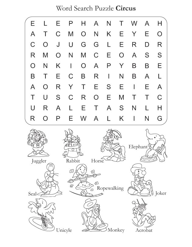 Word Search Puzzle Circus | Download Free Word Search Puzzle ...