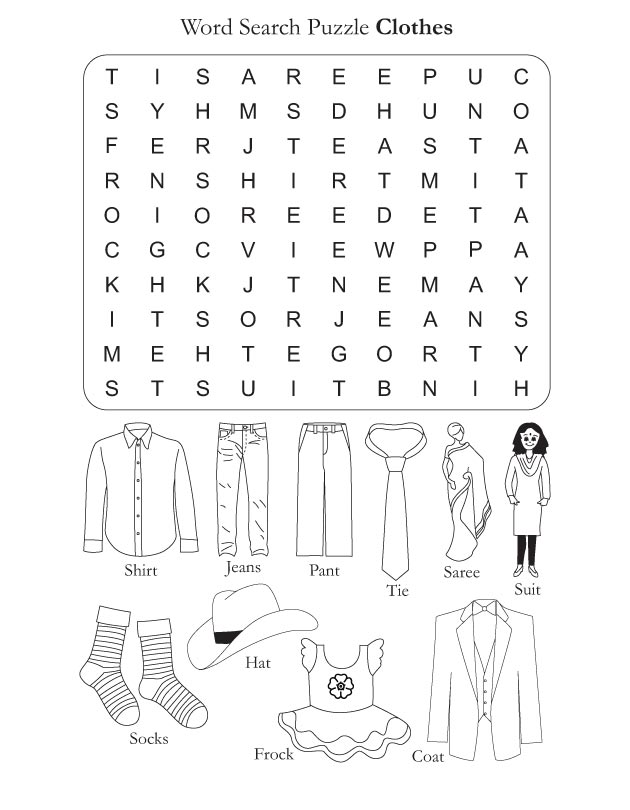 clothes word search puzzle categories word lists activities worksheets ...