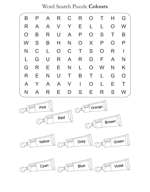 Word Search Puzzle Colors_2d364 on Kindergarten Worksheets Color Orange