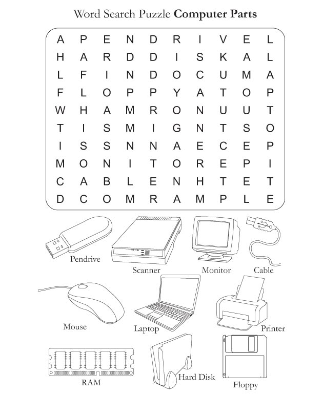 Word search puzzle computer parts download free word for Gardening tools word search