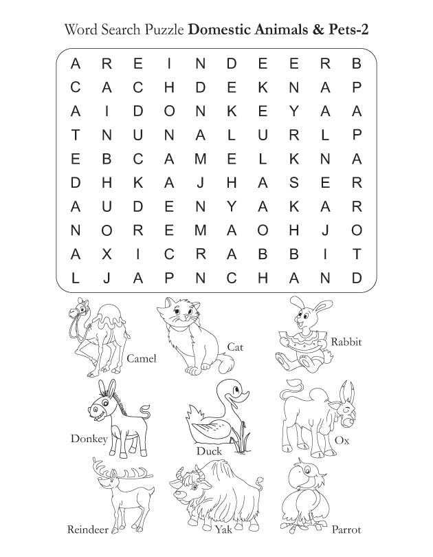 Word Search Puzzle Domestic Animals 2 | Download Free Word Search ...