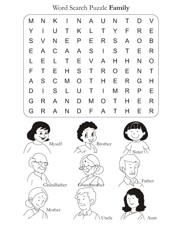 Word Search Puzzle Family – Family Worksheets for Kindergarten