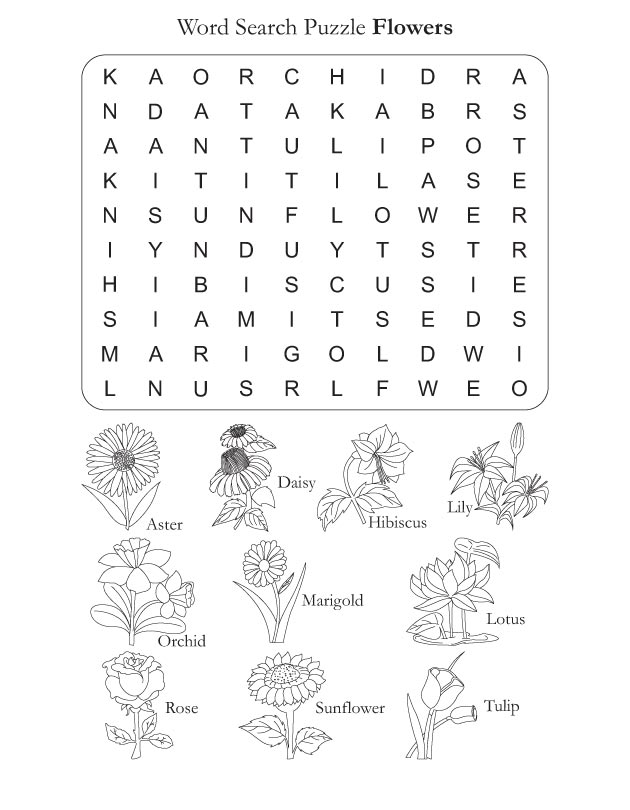 Word Search Puzzle Flowers | Download Free Word Search Puzzle Flowers ...