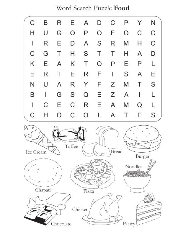 Word Search Puzzle Food