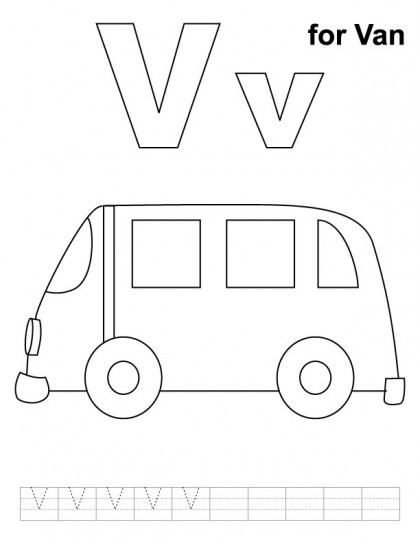 V Is For Van Coloring Page Coloring Pages