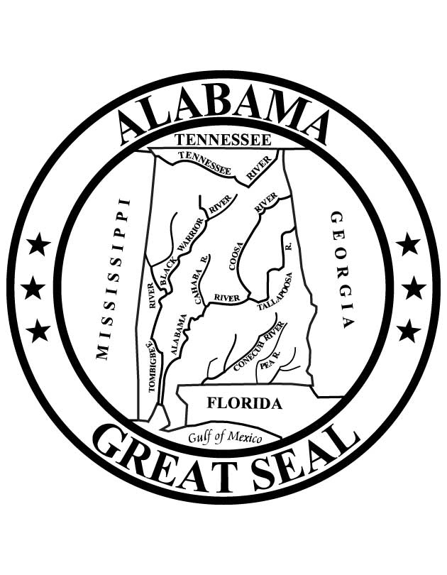 Alabama state seal coloring page coloring page for Massachusetts state seal coloring page