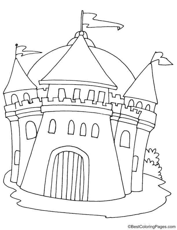 Medieval ancient castle coloring page | Download Free ...