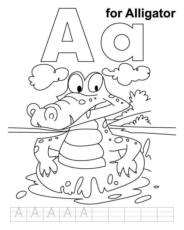 Letter A Alligator Coloring Page | Murderthestout