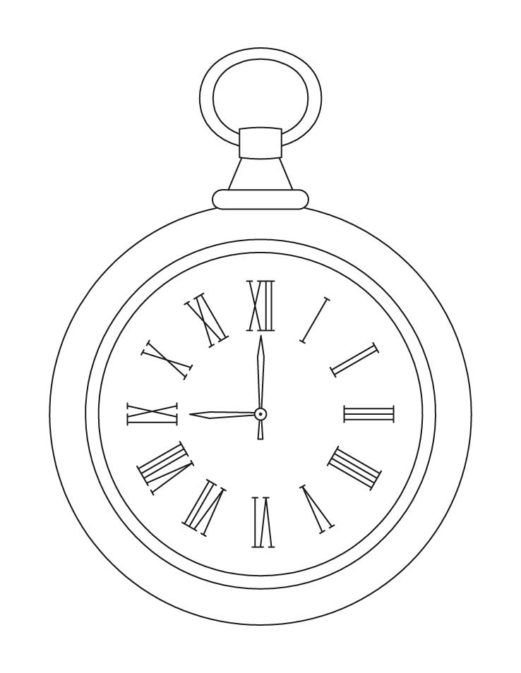 Pocket Watch Coloring Page Coloring Page